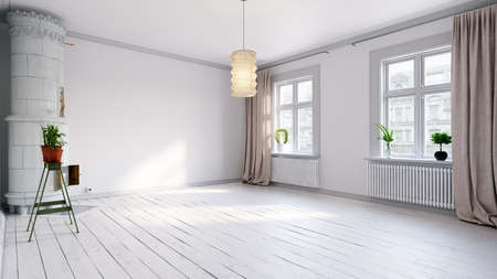 Scandinavian empty apartment interior without furniture with large wall and landscape in window. Home nordic interior. 3D illustration