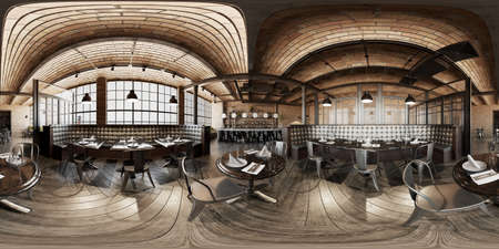 Industrial wooden brick loft coffee restaurant 360 interior Banco de Imagens
