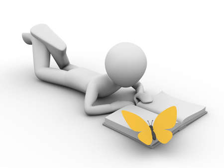 flit: 3d rendered copyspaced image with a man lying and reading a book and a yellow butterfly on the book