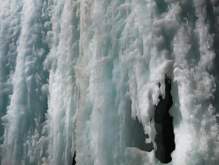 Beautiful winter landscape of frozen waterfalls in the Gorge of Chegem, the Republic of Kabardino-Balkaria, Russia. Imagens