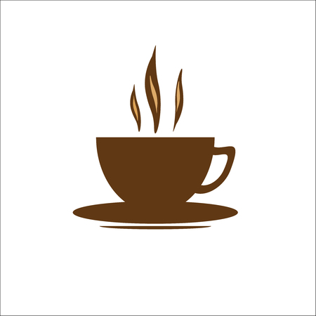 Brown coffee cup on a white background. Vector illustration Illustration