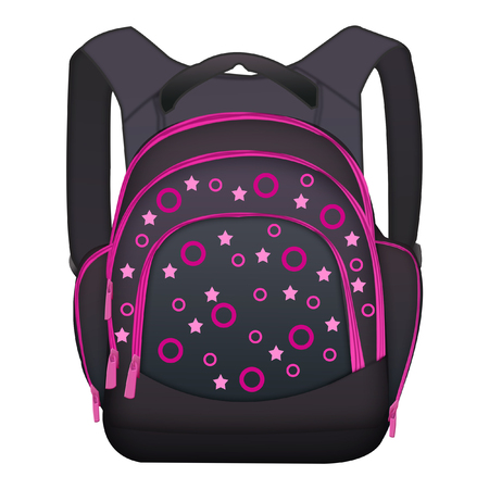 Isolated black backpack with pattern on white background.