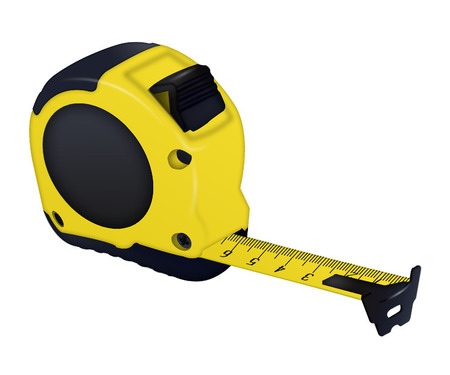 Construction isolated yellow measuring tape on white background. Imagens