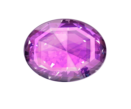 Insulated oval pink gemstone on white background Stock Photo