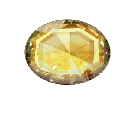 Isolated yellow oval gemstone on white background
