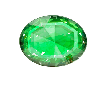 Insulated oval green gemstone on white background