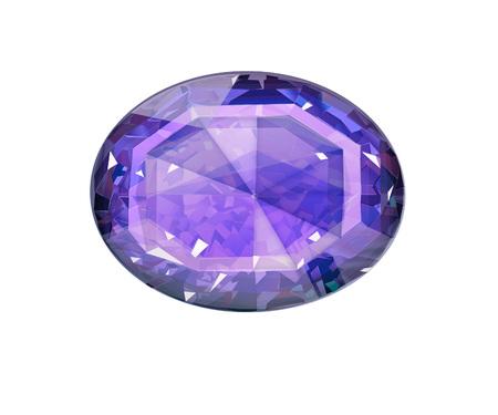 Insulated oval blue gemstone on white background