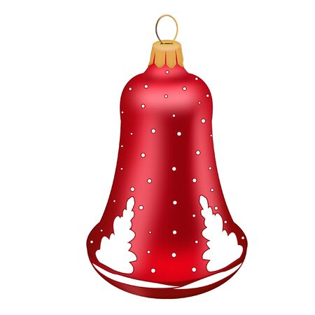 Isolated red Christmas bell toy on blue background.