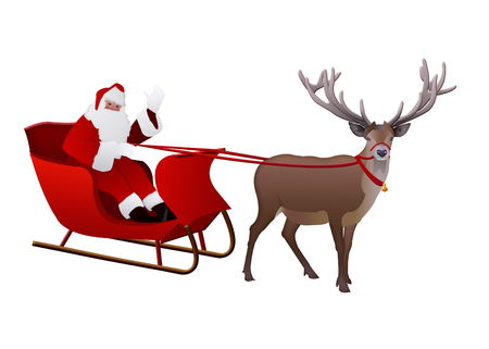 Santa Claus on a sleigh pulled by reindeer isolated on white background.