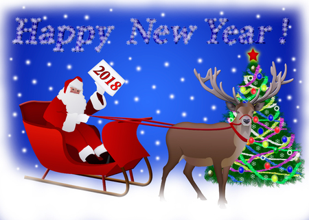 Santa Claus in a sleigh pulled by reindeer to the Christmas tree. Card happy new year