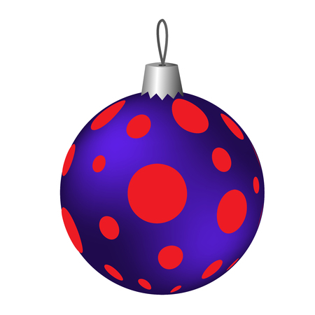 Isolated red Christmas ball with circles on a white background. vector illustration
