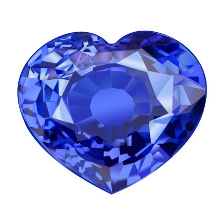 insulated blue gem stone in shape of heart on white background Stock Photo