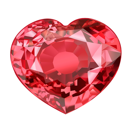 insulated red gem stone in shape of heart on white background Stock Photo