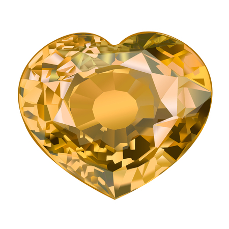 insulated yellow gem stone in shape of heart on white background