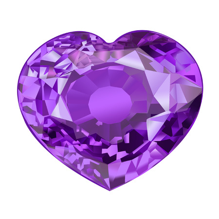 insulated purple gem stone in shape of heart on white background Stock Photo