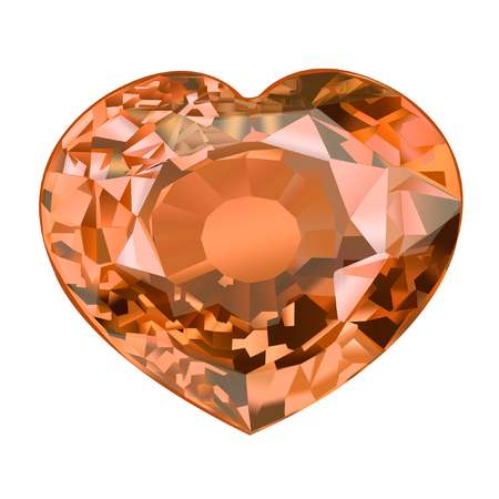 insulated  gem stone in shape of heart on white background