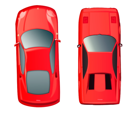 Two red cars top view on white background. Red passenger car. Stock Photo