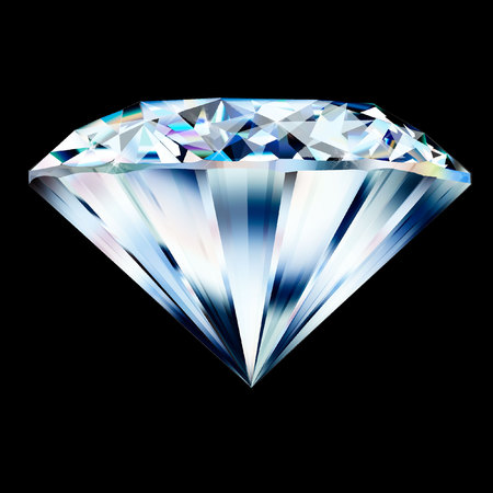 Beautiful diamond. Insulated  gem stone on black background. Stock Photo