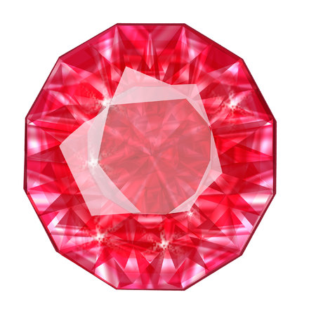 Insulated oval red gemstone on white background.