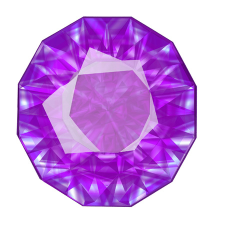 Insulated oval violet gemstone on white background.