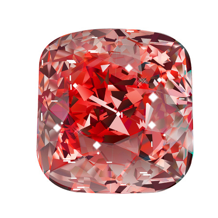 Isolated red oval gemstone on white background. Red faceted stone.
