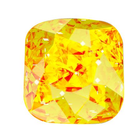 Isolated yellowl gemstone on white background. Yellow faceted stone. Stock Photo