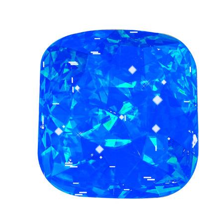Isolated bluel gemstone on white background. Blue faceted stone. Stock Photo