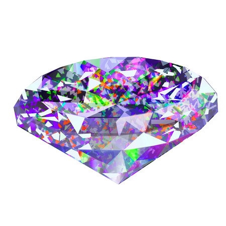 Insulated faceted precious stone on white background. Diamond