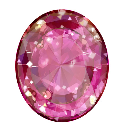 Insulated oval pink gemstone on white background. faceted stone Stock Photo