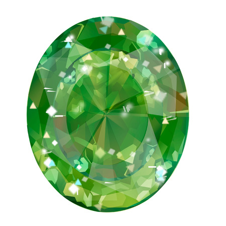 Insulated oval green gemstone on white background. faceted stone