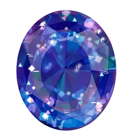 Insulated oval blue gemstone on white background. faceted stone