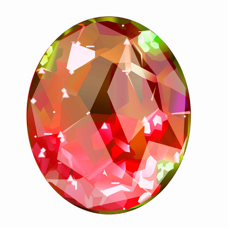 Insulated oval red gemstone on white background. faceted stone