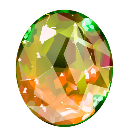Isolated yellow oval gemstone on white background. faceted stone