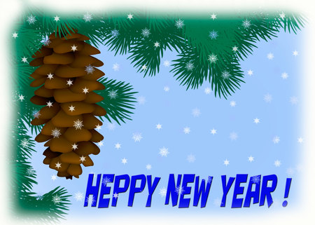 Illustration of a spruce branch with a cone. New year card