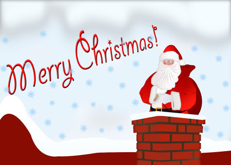 Santa Claus with a bag in the chimney. Illustration of Santa Claus with a bag on a background. Merry Christmas card Stock Photo