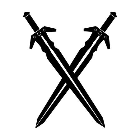 Zwei Schwerter isoliert auf weißem Hintergrund. Vektor-Illustration von zwei Schwertern