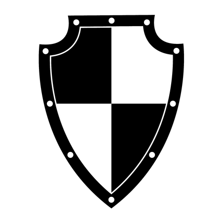 Isolated black shield on white background. Vector illustration of the shield. Emblem, symbol, shield icon Vectores