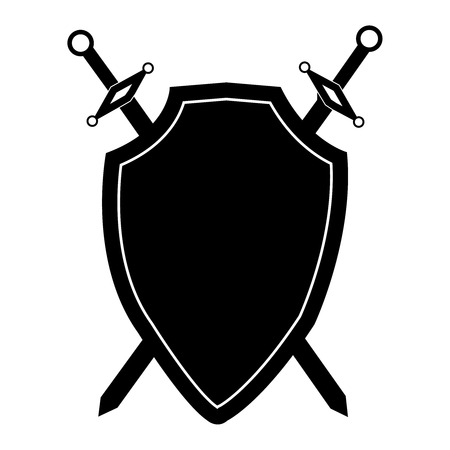 Isolated black shield and two swords on white background. Vector illustration of shield and swords. Emblem, symbol, shield icon Ilustrace