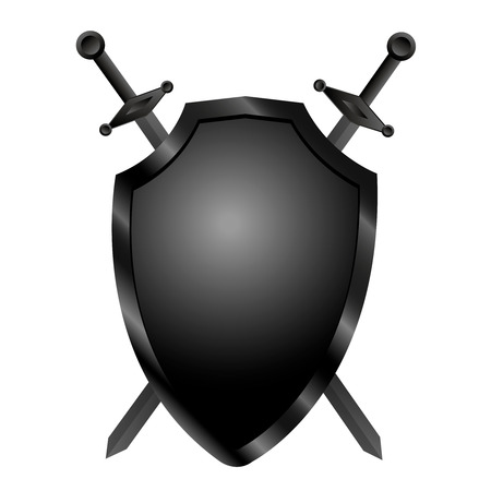 Isolated shield with two swords on white background. Vector illustration of a shield with a swords
