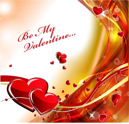 Red heart background with glowing effect.Vector  Illustration