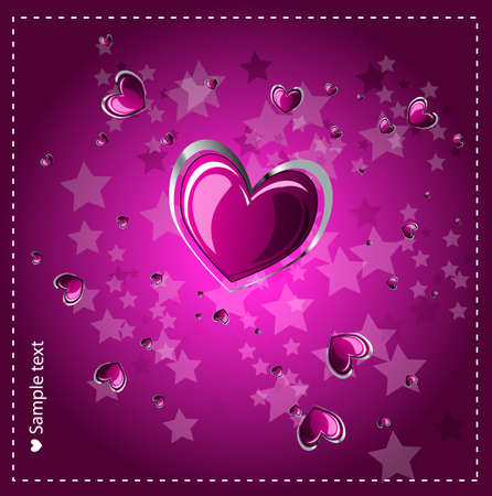 Heart background with glowing effect.Vector  Vector