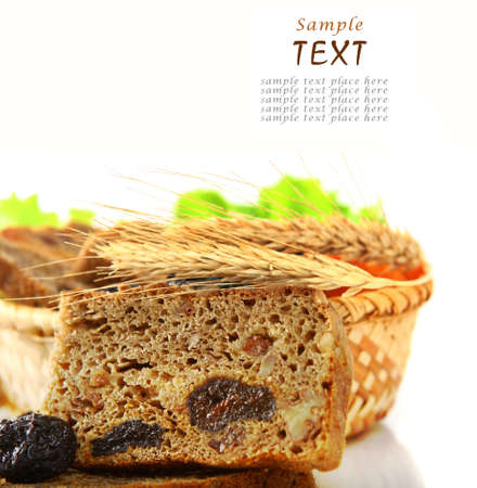 Fresh dessert bread with prunes and dried apricots photo