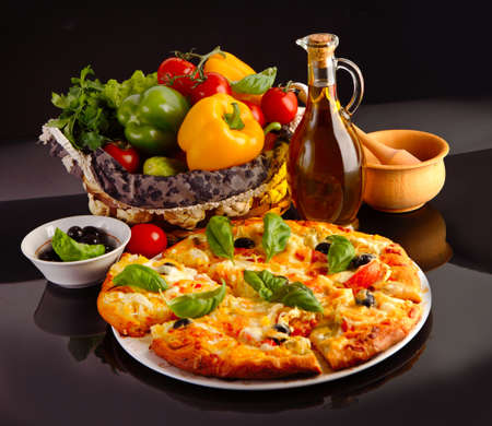 Pizza in black