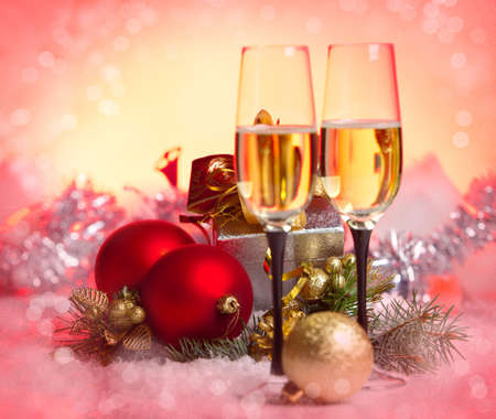 New Year and Christmas Celebration .Two Champagne Glasses in Holiday decoration.  Stock Photo
