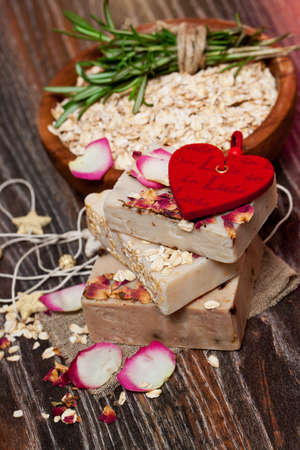 Oatmeal soap  with roses photo