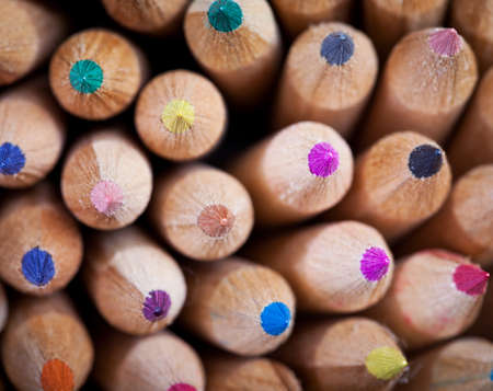 writing implements: Wooden color pencils
