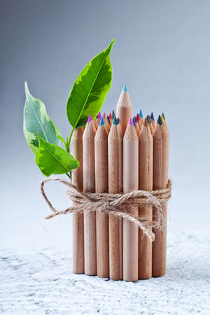Wooden color pencils photo