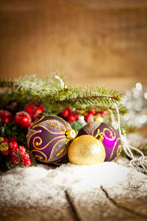 Christmas Decoration Over Wooden Background. photo