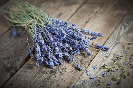 lavender coloured: Bunch of lavender flowers on an old wood table Stock Photo