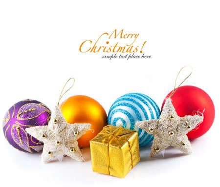 白で隔離のクリスマスの装飾 写真素材